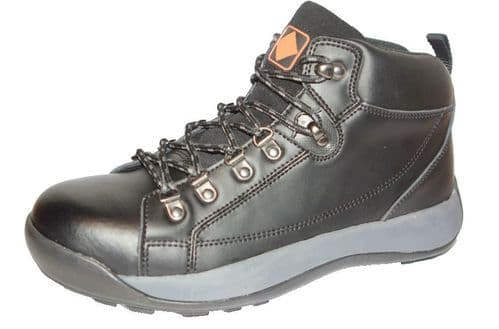 ET Safety C3222 Lace up Black Leather Steel Toecap SB Work Trainer  Boots